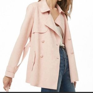 Pink Faux Suede Trench Coat